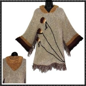 SWEATER S Hoodie FRINGED Boho TEXTURED KNIT